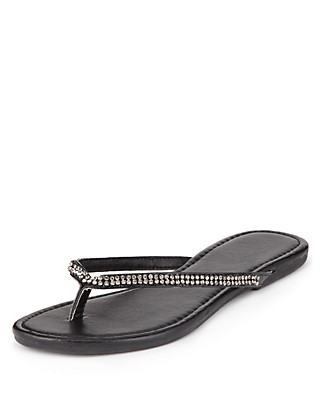 Diamanté Skinny Flip-Flops Clothing