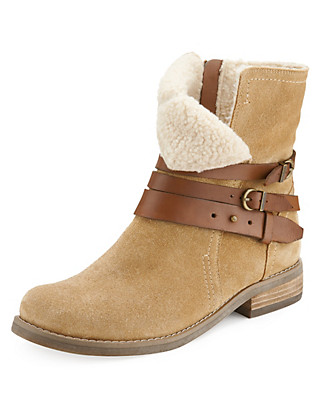Stain Away™ Suede Faux Fur Biker Boots with Insolia Flex® Clothing