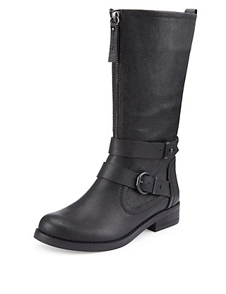 Leather Front Zip Buckle Biker Boots with Insolia Flex® Clothing
