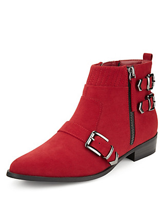 Flat Buckle Ankle Boots with Insolia Flex® Clothing