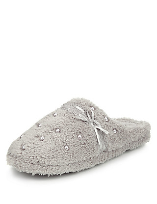Pearl Effect Mule Slippers Clothing