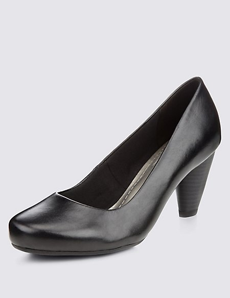 Freshfeet™ Leather Round Toe Court Shoes with Insolia® & Silver Technology