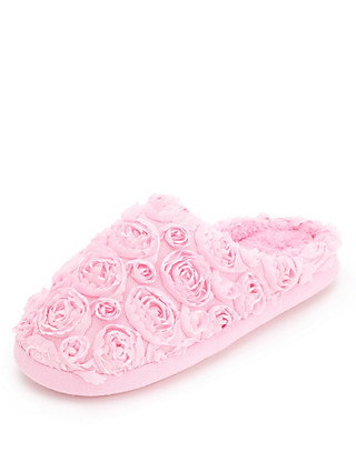 Rose Appliqué Mule Slippers Clothing
