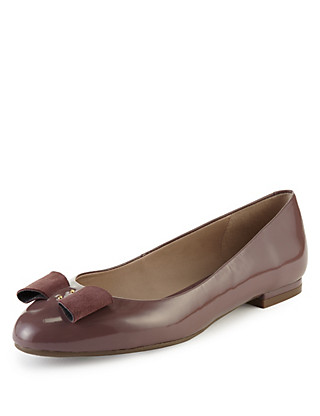 Leather Wide Fit Bow Pumps Clothing