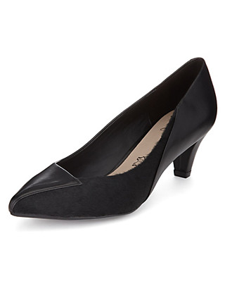 Leather Pointed Toe Court Shoes with Stain Away™ Clothing