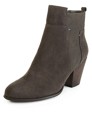 Suede Panelled Ankle Boots with Stain Away™ Clothing