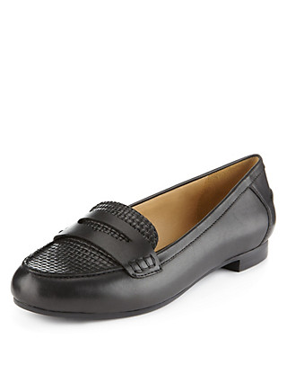 Leather Basket Weave Loafers Clothing