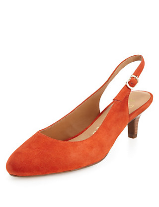 Suede Slingback Court Shoes Clothing