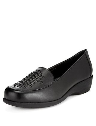 Leather Wide Fit Basket Weave Loafers Clothing