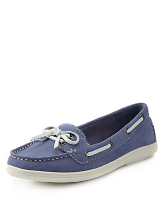 Suede Wide Fit Boat Shoes with Stain Away™ Clothing