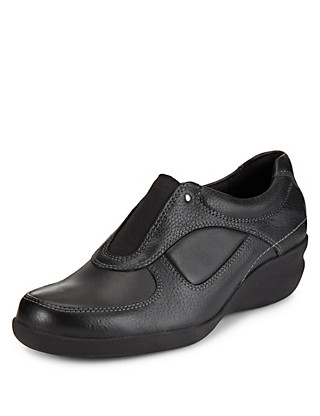 Leather Elasticated Panel Wide Fit Wedge Shoes Clothing