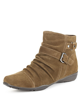 Suede Wide Fit Ruched Ankle Boots with Stain Away™ Clothing