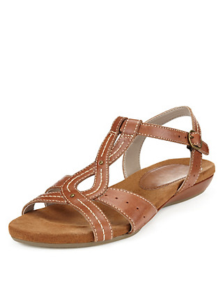 Leather Wide Fit Gladiator Sandals Clothing