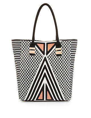 Diamond & Stripe Print Shopper Bag Clothing