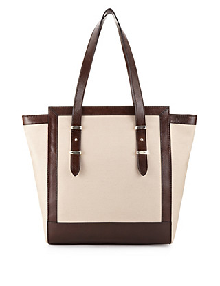 Pure Cotton Two Tone Shopper Bag with Leather Trim Clothing