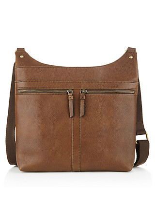 Leather Double Zip Messenger Bag Clothing