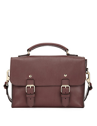 Best of British Leather Twin Buckle Satchel Bag Clothing