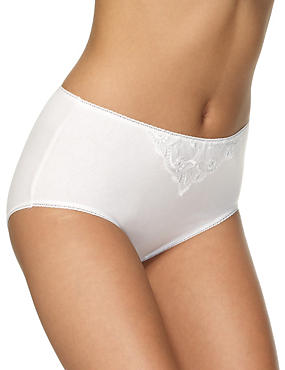 5 Pack Cotton Rich Embroidered High Rise Midi Knickers
