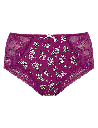 Lace Side Midi Knickers Clothing