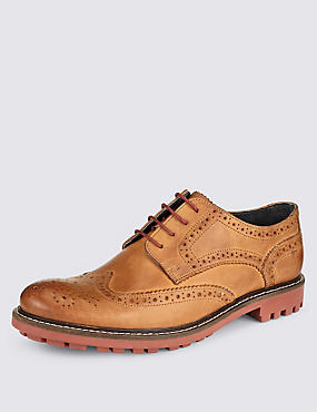 Leather Heavy Sole Brogue Shoes