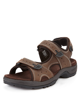 Leather Riptape Strap Sandals Clothing