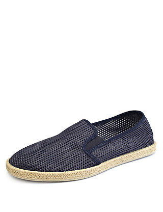 Elastiacted Panel Slip-On Mesh Espadrilles Clothing
