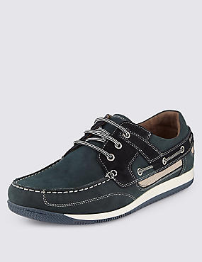 Leather Lace-up Sport Deck Trainers