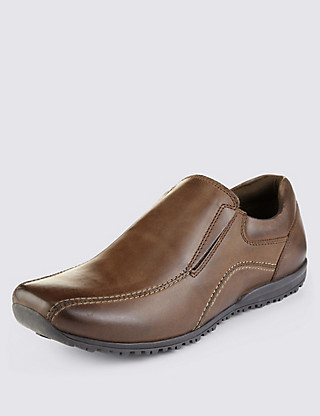 Leather Stitched Slip-On Shoes Clothing