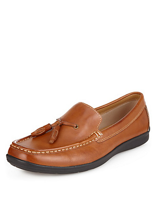 Airflex™ Leather Tassel Slip-On Loafers Clothing