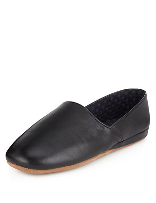 Freshfeet™ Leather Slip-On Slippers with Silver Technology Clothing