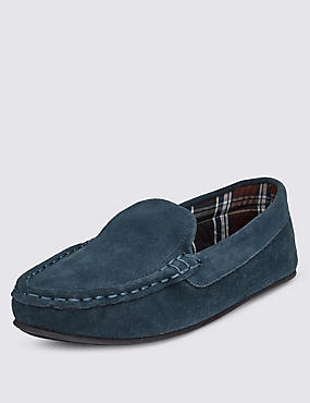 Big & Tall Suede Moccasin Slippers