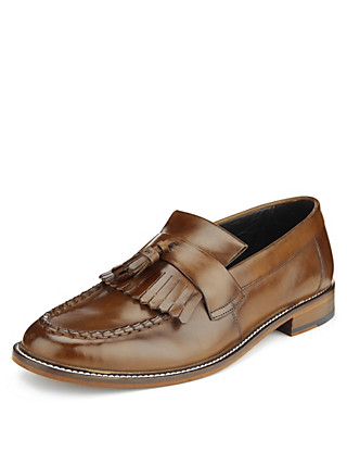 Leather Slip-On Loafers Clothing