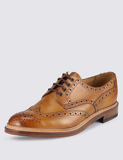 leather welted lace up brogue shoes m s