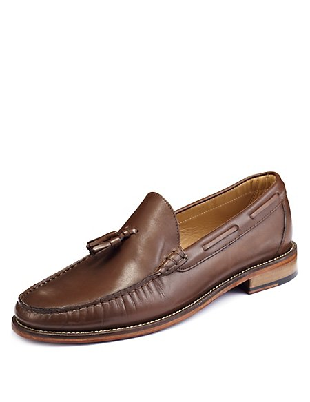 Leather Tassle Slip-On Loafer
