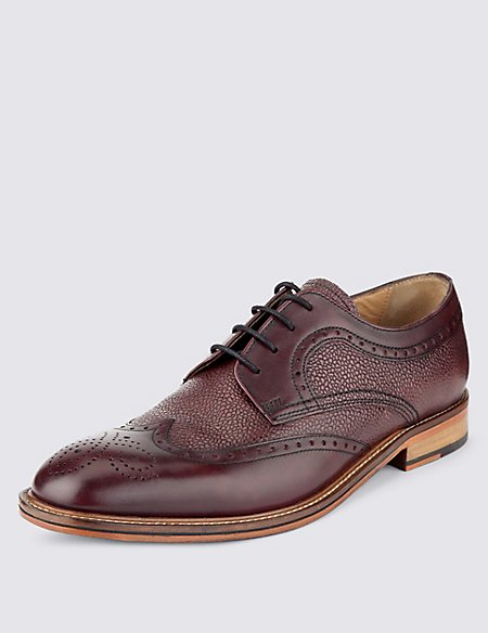 Leather Contrasting Sole Derby Shoes