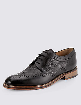 Luxury Leather Contrast Sole Derby Shoes