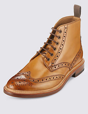 Leather Welted Lace-up Brogue Shoes