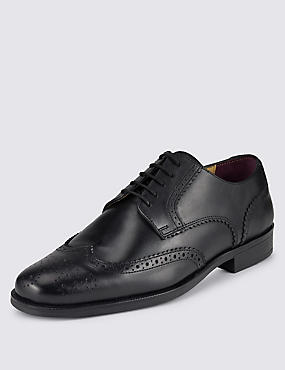 Big & Tall Leather Lace-up Brogue Derby Shoes