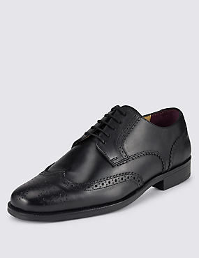 Leather Lace Up Brogue Derby Shoes