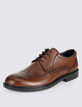 Extra Wide Leather Brogues with Airflex™