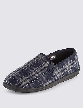 Freshfeet™ Slip-On Checked Slippers with Thinsulate™