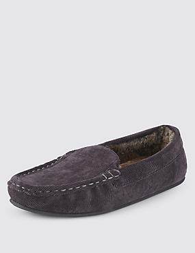Freshfeet™ Corduroy Moccasin Slippers with Thinsulate™