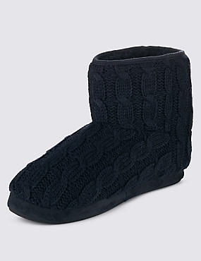 Thinsulate™ Freshfeet™ Cable Knit Slipper Boots with Silver Technology