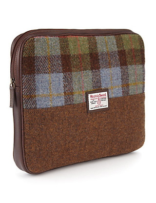 Pure Wool Harris Tweed Checked Laptop Case Clothing