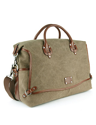 Pure Cotton Textured Holdall with Leather Trim Clothing