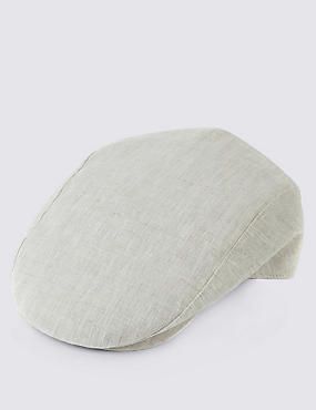 Pure Linen Cool & Fresh™ Checked Flat Cap
