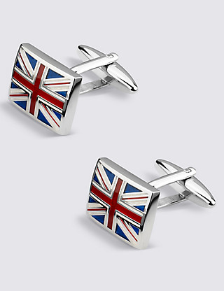 Union Jack Rectangular Cufflinks Clothing