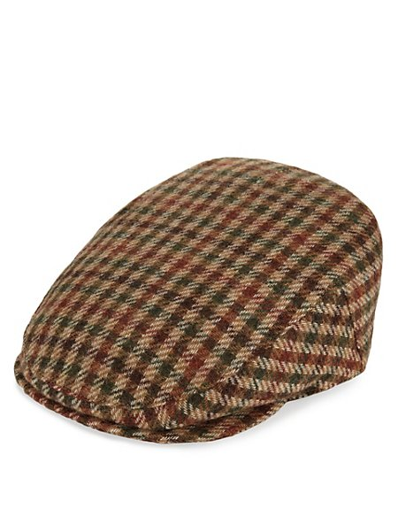 Pure Wool Mini Checked Thinsulate™ Flat Cap with Stormwear™