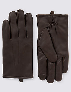 Touchscreen Leather Gloves with Thinsulate™, BROWN, catlanding