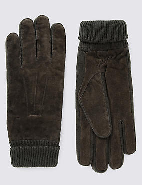Ribbed Cuff Suede Gloves with Thinsulate™